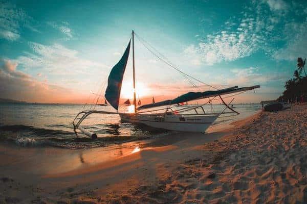 Beach and sunset in the Philippines
