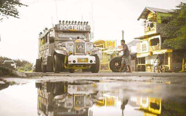 Jeepney as a means of transportation in the Philippines, which shows another difference between Germany and the Philippines